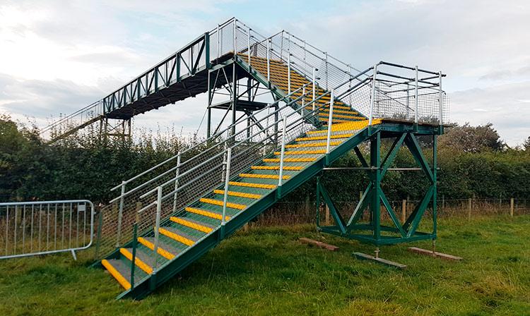 Temporary spectator bridge for British Masters